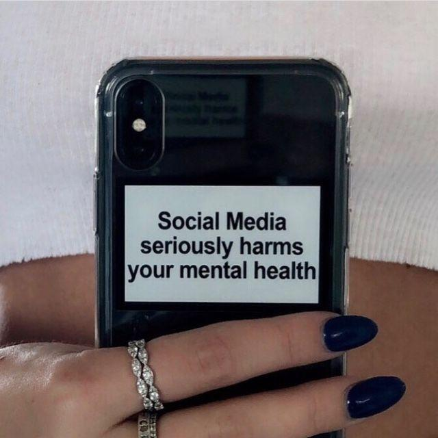 "A phone case with the words ""Social Media seriously harms your mental health"" to spread awareness"