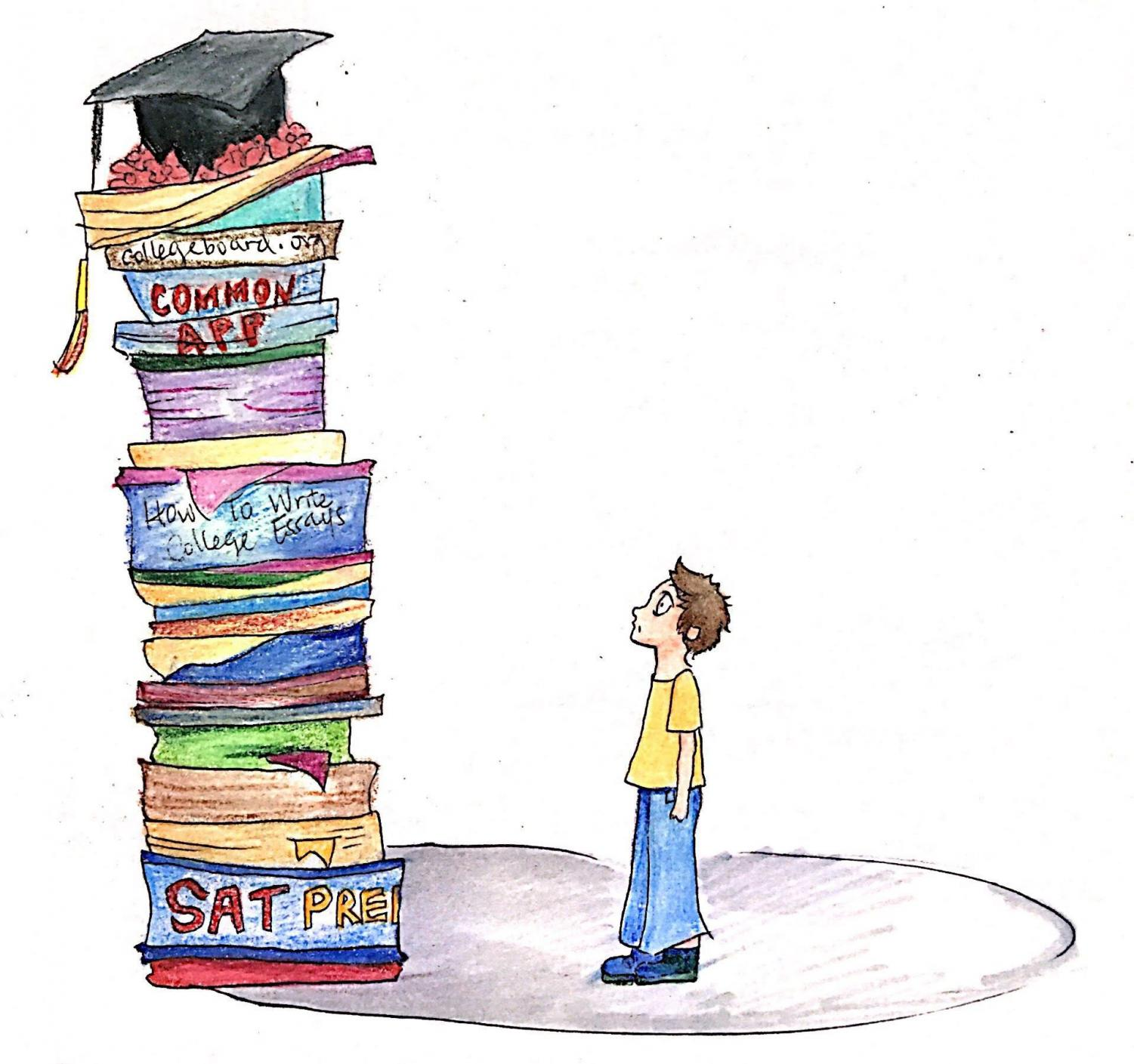 The student shown is focusing on college applications rather self-improvement.