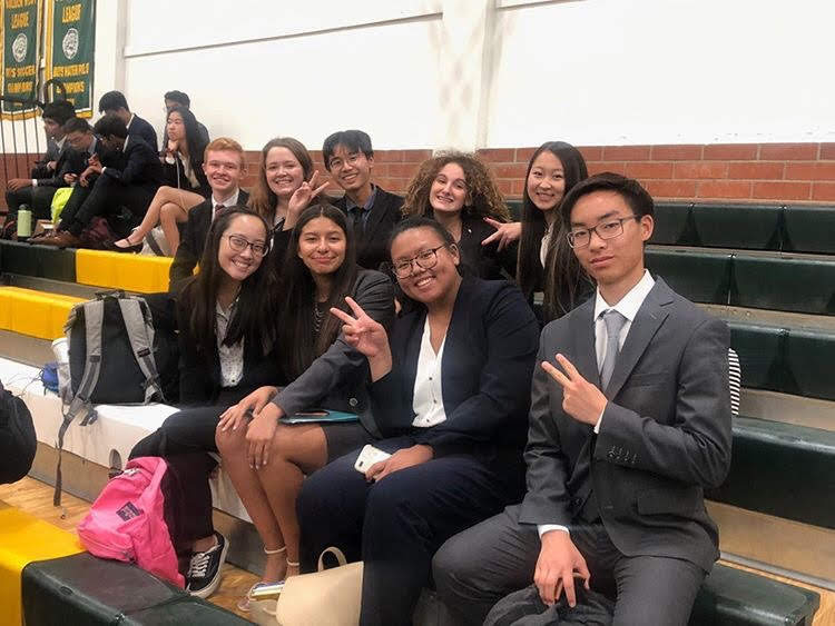 From left to right, top to bottom: Andrew Krohn (12), Anna Bulis (12), Raymond Nguyen (12), Shayda Roshdieh (11), Sydney Kim (11), Caitlyn Truong (12), Andrea Rodriguez (9), Camille Khong (9), and Tim Lee (10) were among several YLHS speech and debate students at their first tournament for the 2019-2020 school year.