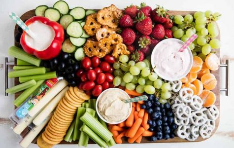 A basic food platter filled with healthy food options a more plant-based diet would have.