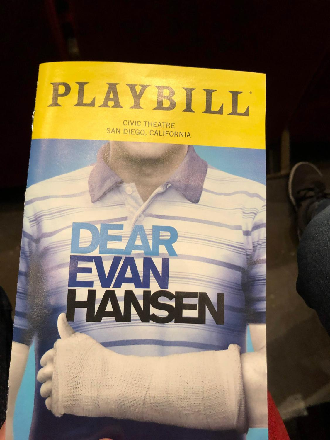 The Playbill of Dear Evan Hansen where I saw it.  Even the outfit depicted on the Playbill carries heavy symbolism which becomes evident after seeing the musical.