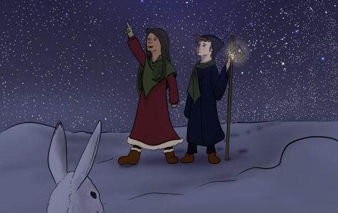 A cartoon illustration that portrays two individuals as they walk through the snow.