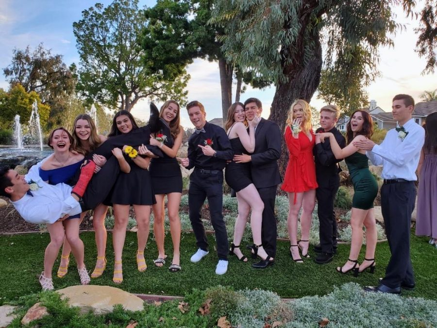 This is a picture of a group of seniors before they attended the dance some from different schools other than Yorba Linda. From here, they went to the venue and had an amazing night dancing at the Discovery Science Center.