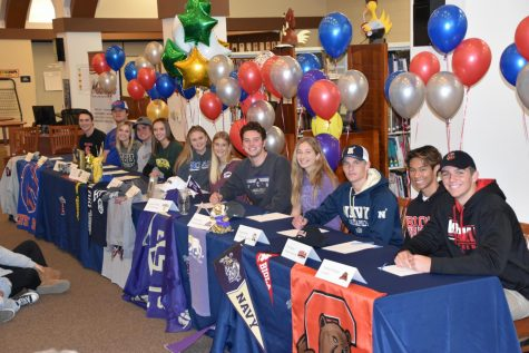 Group Picture of all of the Mustang athletes who signed to the prospective schools.