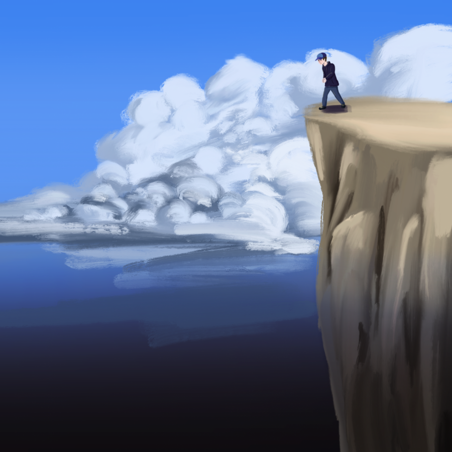 This is an illustration that represents my feelings when I'm faced with a stressful situation.  It feels like I'm about to jump off a cliff, without knowing what lurks below.  I can either turn away or jump, and there's only one way to find out what's at the bottom.