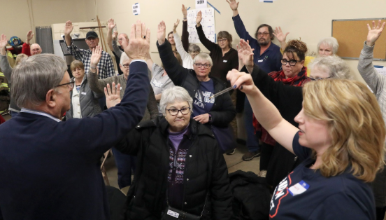 Iowa caucus held at a fire station in Kellogg, Iowa, on February 3, 2020.