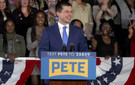 Pete Buttigieg, surrounded by devoted supporters, speaks on his placement of the Iowa caucus.