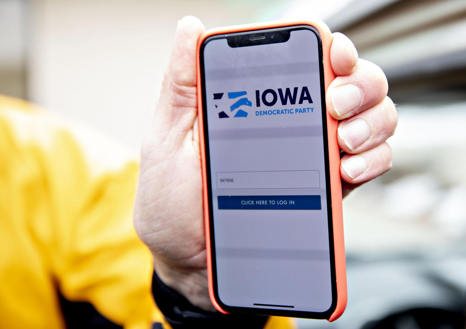During the Democratic portion of the Iowa Caucus, the app shown on the smartphone in the image was used to try to efficiently collect results.