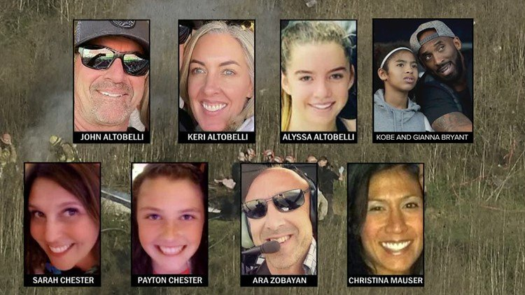 The+devastating+helicopter+crash+on+January+26+took+the+lives+of+the+nine+victims+who+are+pictured.