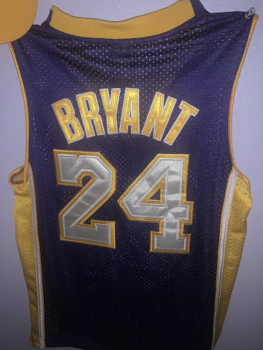 Kobe Bryant's jersey hanging as a symbol of remembrance of his life and basketball career.
