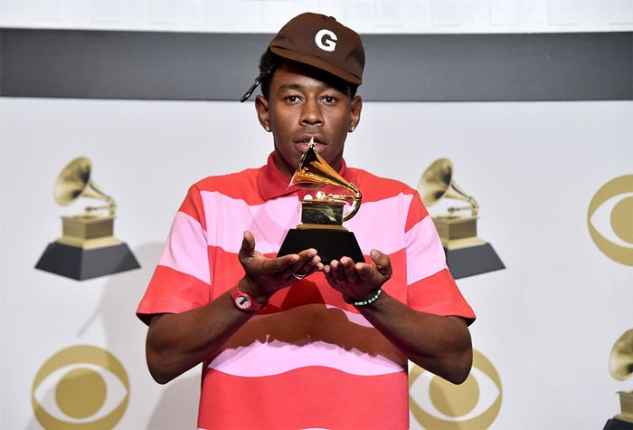 Tyler+The+Creator%2C+a+rapper+who+criticized+the+Grammy%27s+for+its+racist+selection+process+in+its+%E2%80%9Curban%E2%80%9D+category.