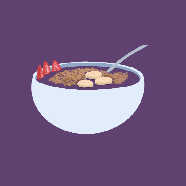 An+illustration+of+the+iconic+acai+bowl%2C+topped+with+granola%2C+bananas%2C+and+strawberries.+