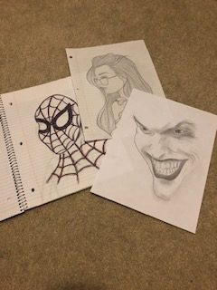 Three art pieces that Suhani has spent her free time drawing.