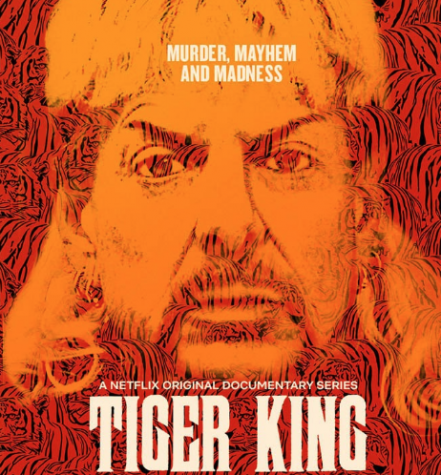 Joe Exotic's mug shot is used to advertise the Netflix original documentary series titled Tiger King: Murder, Mayhem and Madness.