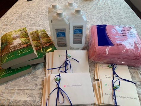 Here are letters of encouragement and supplies for frontline health workers.
