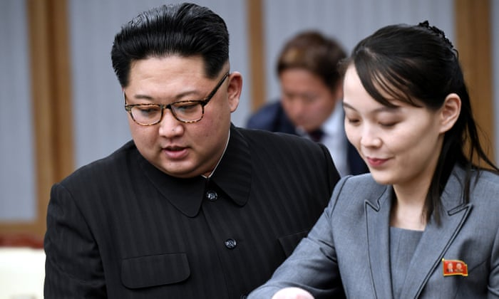 Kim Jong-un with his sister Kim Yo-jong; despite their close relationship, the possibility of her becoming heir is almost obsolete.