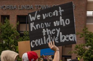 Hundreds of protesters gathered in Yorba Linda on June 2 to demand change and justice.