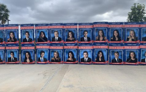 Yorba Linda High School fences covered with banners of every senior to give appreciation to the hard work they put in High School.