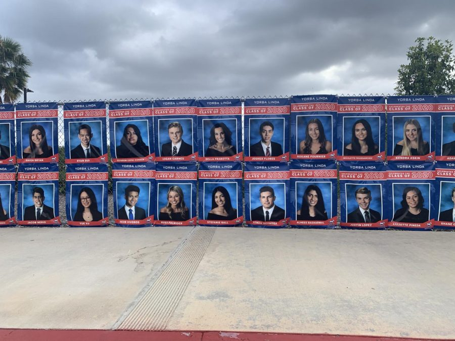 Yorba+Linda+High+School+fences+covered+with+banners+of+every+senior+to+give+appreciation+to+the+hard+work+they+put+in+High+School.
