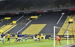 Empty stands in Borussia Dortmund's Signal Iduna Park as the German Bundesliga opened league play on May 16.