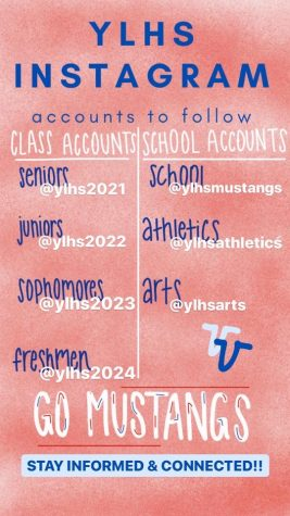 A graphic created by ASB to easily navigate where to find each Mustang Instagram account.