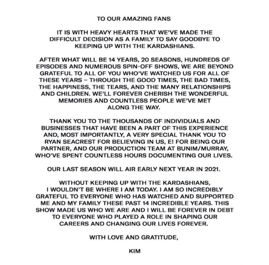 Kim Kardashian publicly addressed the famous show's ending on Twitter.