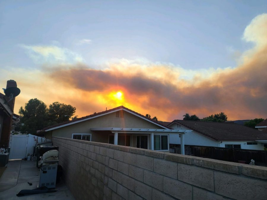 View from Mrs. Shay's Corona Home as the fire glows from the distance.