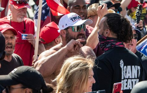 Black Lives Matter protester and counter-protester face to face in Yorba Linda as the two groups clash, ultimately resulting in a disorderly ending.