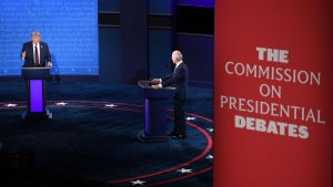A picture of both of the candidates during the Presidential Debate on September 29th.
