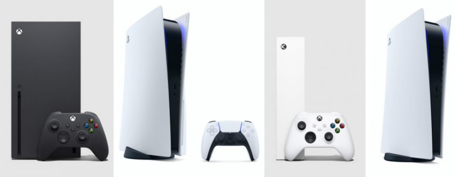 From left to right: the Xbox Series X, the PS5, the Xbox Series S, and the PS5 digital edition.  The prices for these consoles are $499, $499, $299, and $399, respectively.