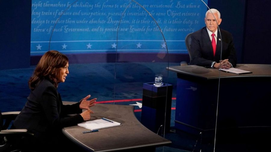 Kamala Harris and Mike Pence participate in their 2020 vice presidential campaign debate.