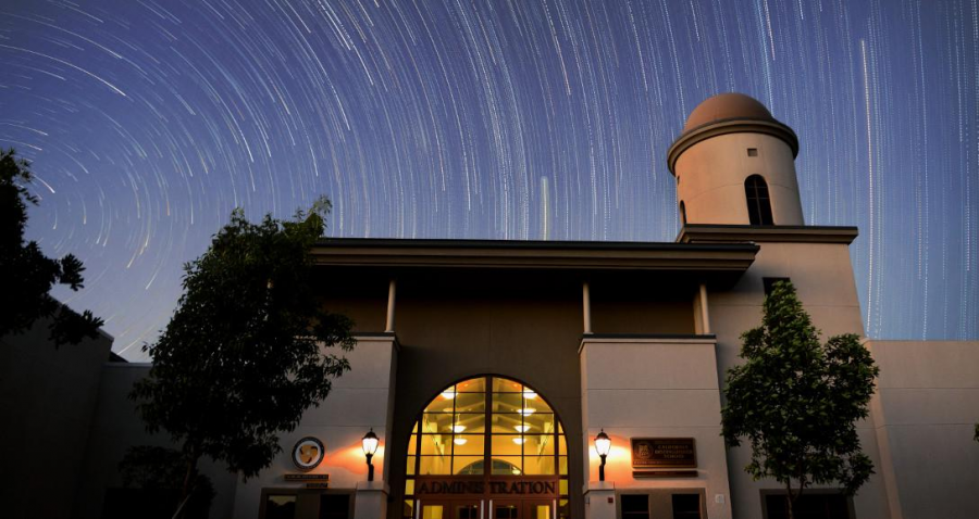 The path of stars traveling across the sky in a single photo over Yorba Linda High School.