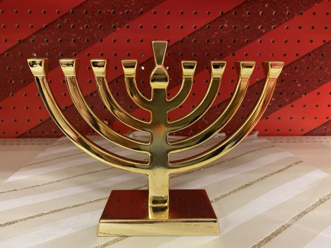 This image above shows a menorah, which corresponds to the holiday of Hanukkah, where each of the eight days a candle is light and prayer is said to celebrate the victory against the invasion of Judea.