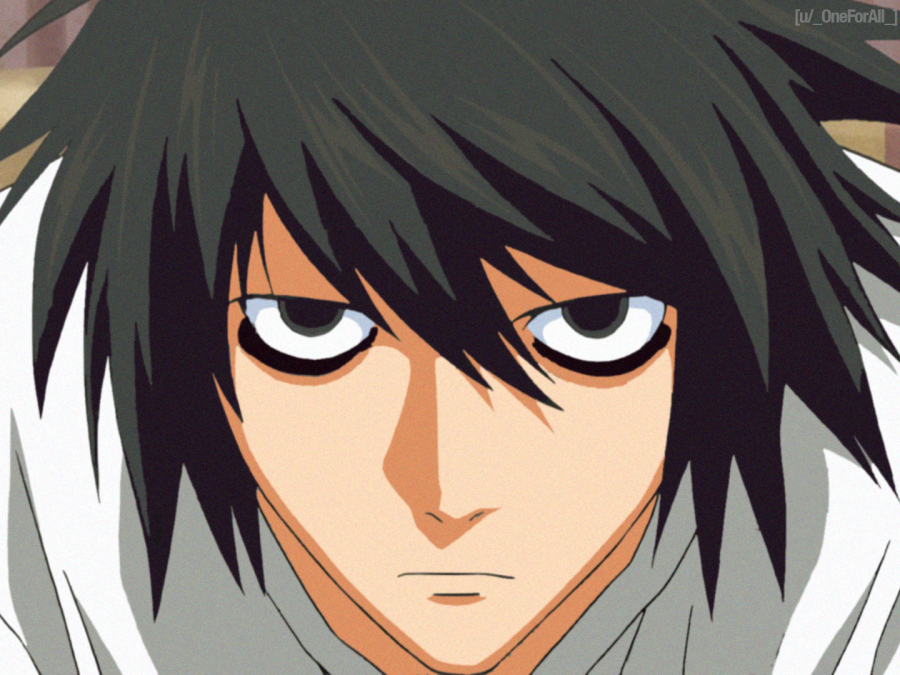 "Character ""L"" from a highly popular anime called ""Death Note"" on Netflix."