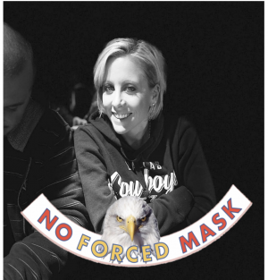 "Blades posts a ""NO FORCED MASK"" photo to her Facebook."