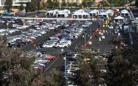 Disneyland is using its Disneyland Resort parking area as a temporary COVID-19 vaccine super site.