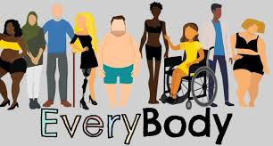 An image including a variety of bodies, representing the idea of body positivity.