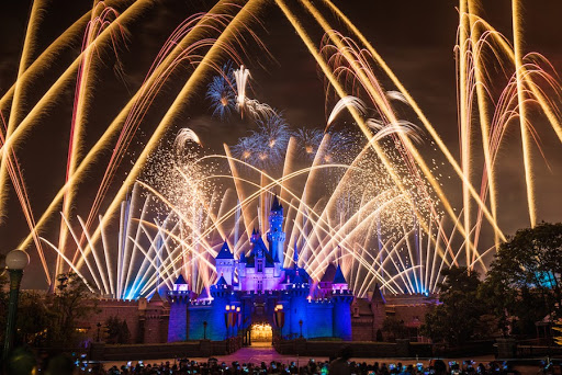 Disneyland's brilliant nighttime fireworks light up the skies above its trademark Cinderella Castle.