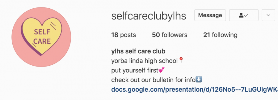 An image of the Self Care Club instagram page and information bulletin.