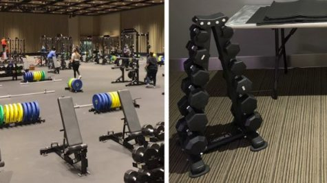 The two different weight rooms placed right next to each other to show the differences between equipment. The men