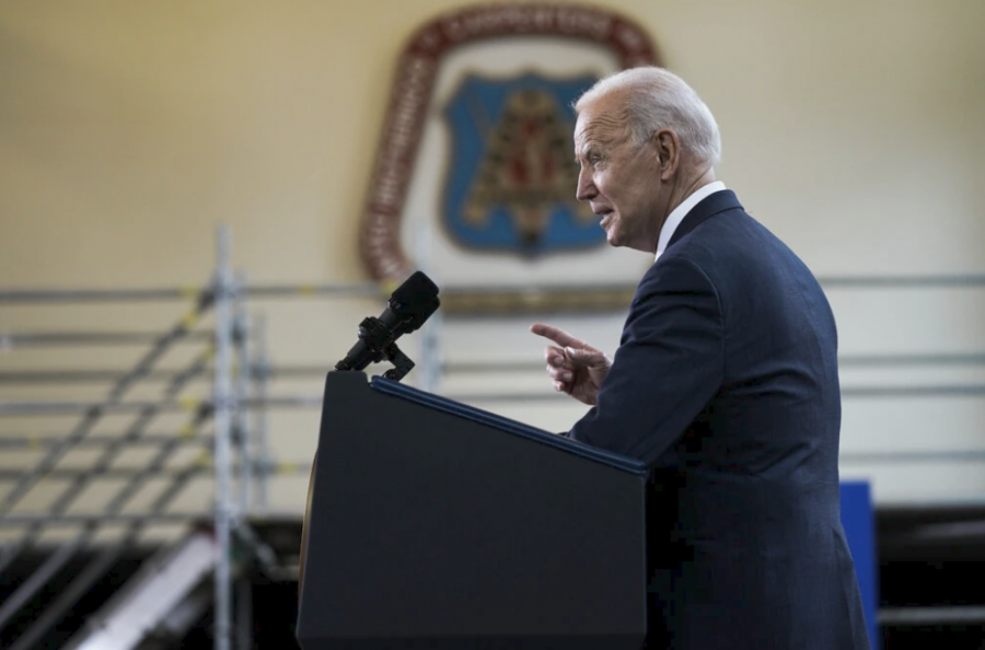 President Biden on Wednesday near Pittsburgh, where he outlined his infrastructure plan.