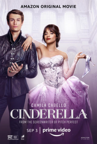 The cover poster of Cinderella (2021). Camila Cabello as Cinderella in the middle, with Nicholas Galitzine as the prince on her left.