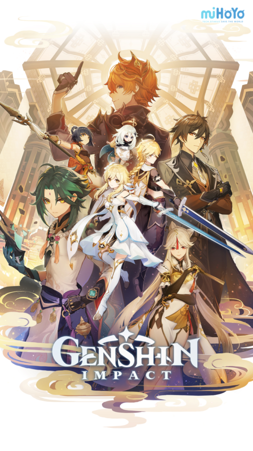 One of Genshin Impact's official artworks, featuring characters from its version 1.1 Liyue story arc(A New Star Approaches).