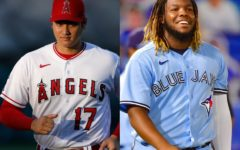 Shohei Ohtani (left) and Vladimir Guerro Jr. (right), the two contenders for the 2021 AL MVP Award. Ohtani, dressed in white and red, plays for the Los Angeles Angels. Guerro Jr., dressed in baby blue, plays for the Toronto Blue Jays.