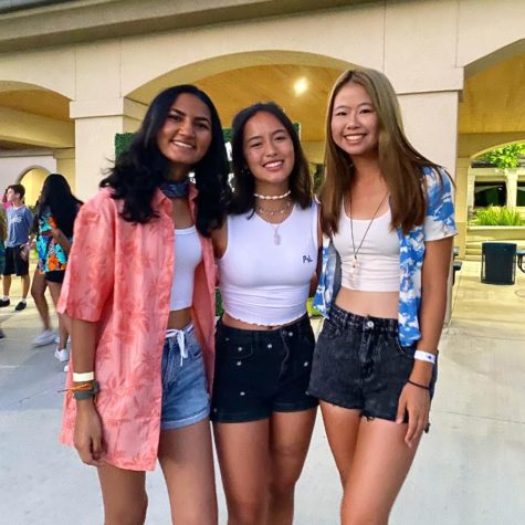 Hannah Bucklin (12), Joyce Lin (12), and Suhani Bhanvadia (12) at the welcome back dance.