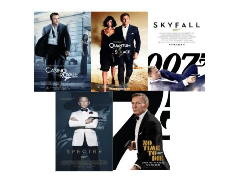 A composite image of the five Daniel Craig James Bond Movies. In order from top right to bottom left, it shows the posters for Casino Royale, Quantum of Solace, Skyfall, Spectre, and No Time to Die.