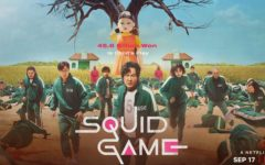 The cover poster for Squid Game. The three main characters, Seong Gi-hun, Cho Sang-woo, and Kang Sae-byeok, stand in the center of the arena during the show's most famous scene.