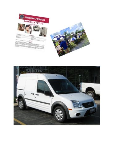 Photos of the investigation of Gabby Petito murder and the connection between the three.