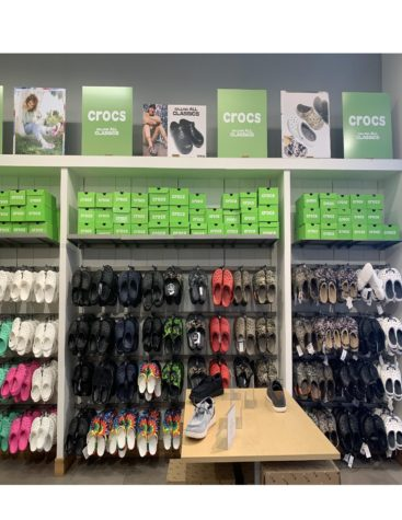 In the mall, it is not uncommon to find a wall of Crocs.