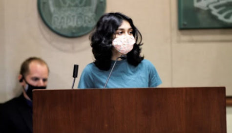 Greeva Ramani (10) gives a testimony about racism in front of the PYLUSD school board.